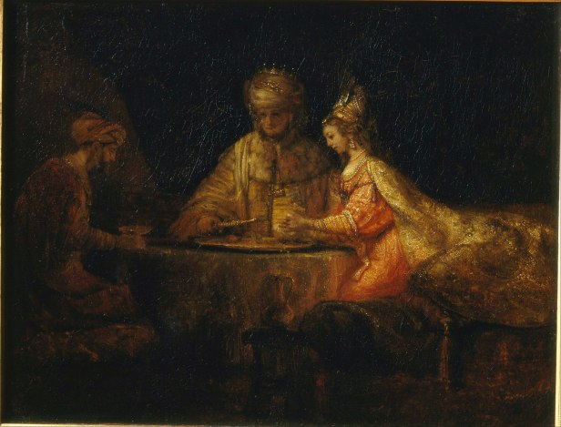 two men, one woman, richly dressed, seated around a table