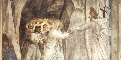 fresco of Jesus leading the dead out of a cave