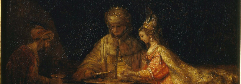 two men and a woman richly dressed seated around a table