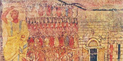2d century fresco, Moses, Israelites leaving Egypt