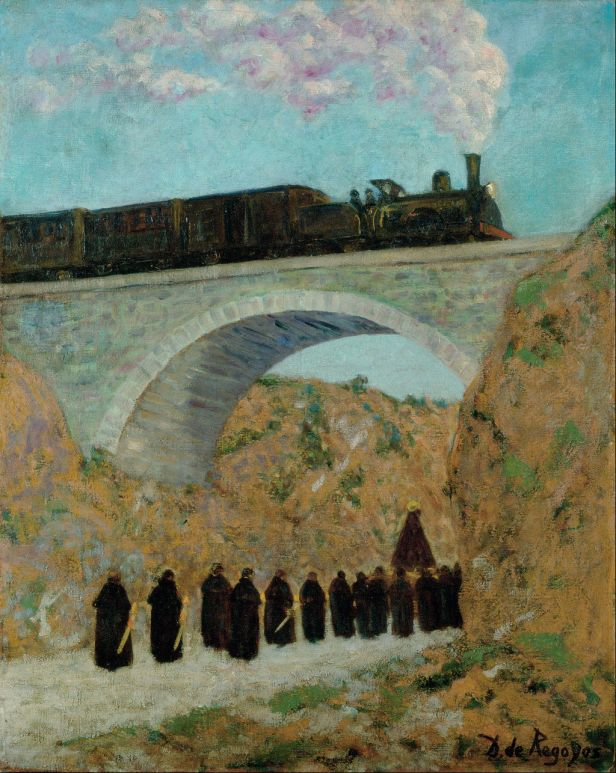 impressionistic painting of Good Friday procession heading under a railway bridge