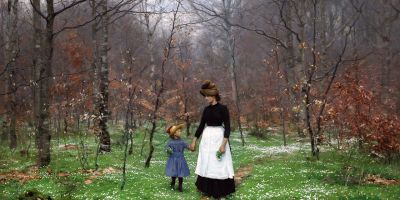 woman and child walkking through spring woods painting