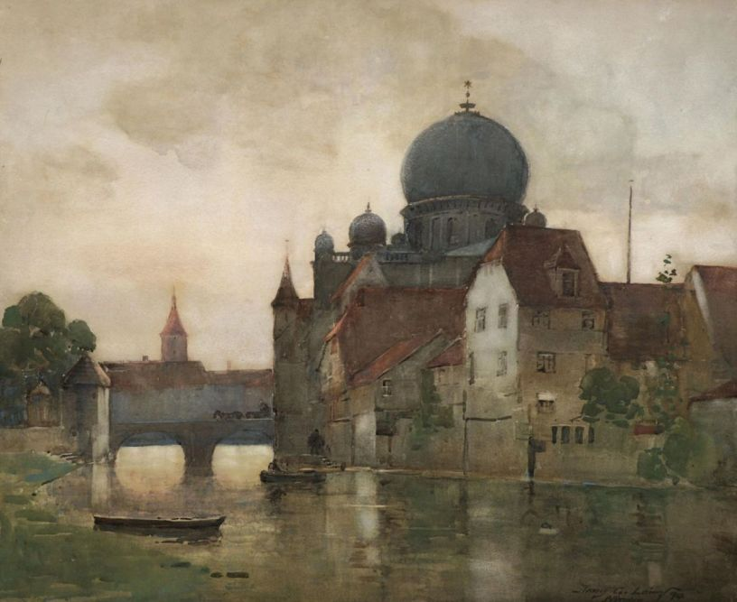 painting of synagogue by a river