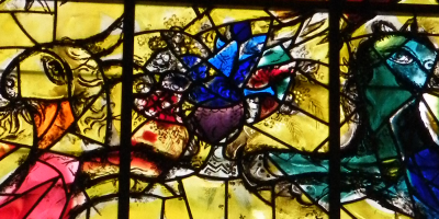 figures in a stained glass window