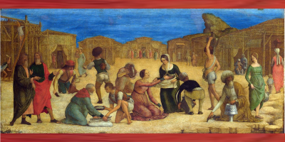 gathering manna in the wilderness - painting