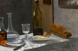 painting of bread and wine on a table