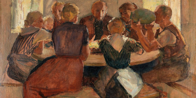 painting - family around a dinner table