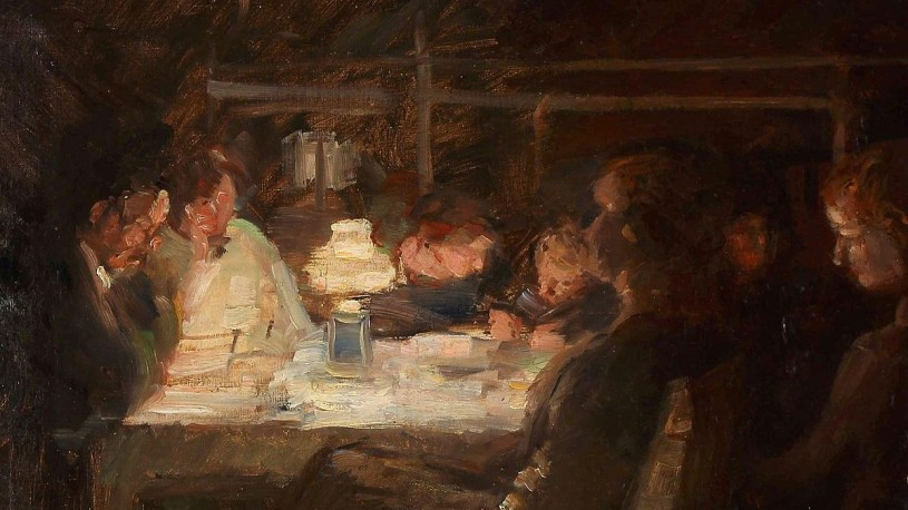 painting of family seated around a table at night